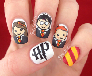 hp, nails, and harry potter image