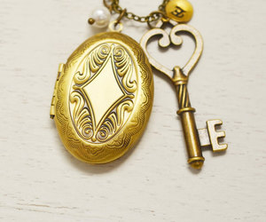 bridesmaid gift, initial locket, and skeleton key jewelry image