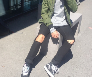 black, fashion, and ripped jeans image