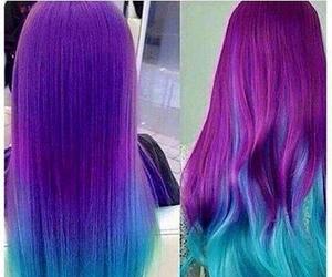 hair, light blue, and purple image