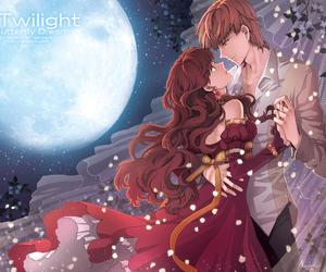 full moon, night sky, and anime fanart image