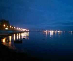 night lights, sea, and dark blue image