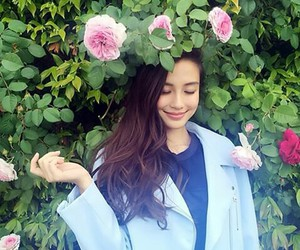 angelababy, beautiful, and flowers image