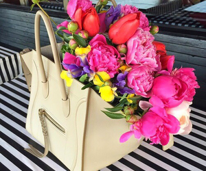 flowers, bag, and celine image