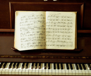 musical notes, piano, and love image