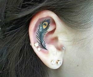 tattoo, ear, and feather image