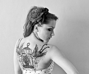 black and white, heart, and bird image