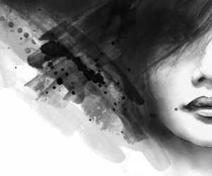 b&w, beauty, and drawing image