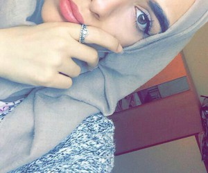 eyeliner, hijab, and makeup image