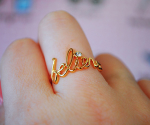 believe, ring, and gold image