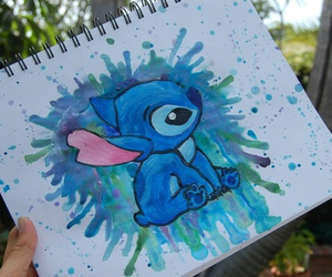 stitch, art, and blue image