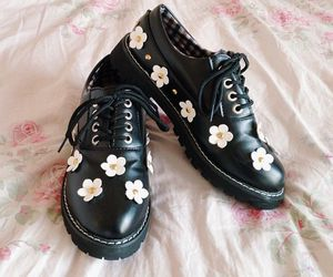 shoes, black, and flowers image
