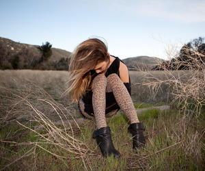 animal print, boots, and brunette image