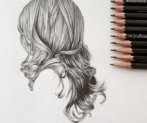 drawing, hair, and black and white image