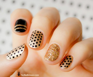 nails, gold, and black image
