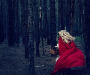 forest, girl, and red image