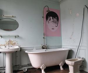 pink, grunge, and bathroom image