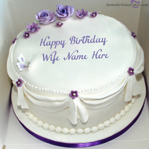 Phenomenal Write Name On Voilet Roses Birthday Cake For Wife Happy Birthday Funny Birthday Cards Online Overcheapnameinfo