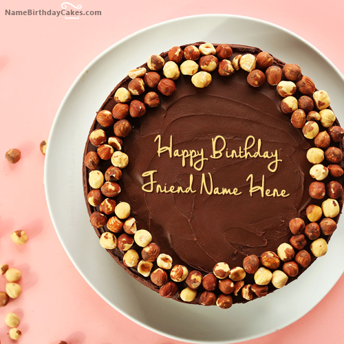 Pleasant Write Name On Chocolate Nuts Birthday Cake For Friend Happy Funny Birthday Cards Online Chimdamsfinfo