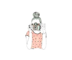 camera, girl, and pink image