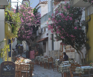 skiathos, taverna, and little road image