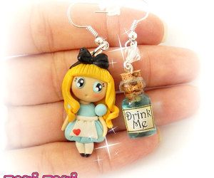 alice in wonderland, mad hatter, and polymer clay charms image