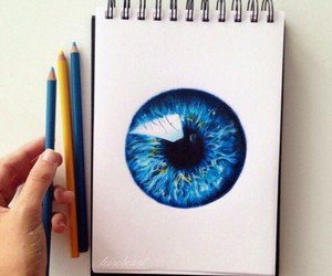 eye, blue, and art image