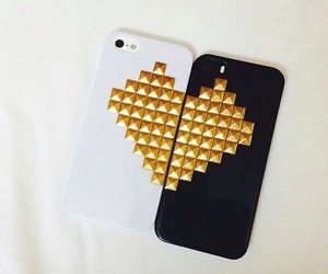 case, gold, and heart image