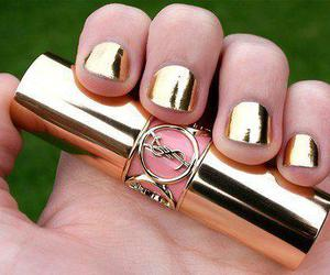 nails, gold, and YSL image