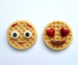 food, emoji, and waffles image