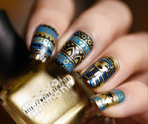 black, golden, and nail art image