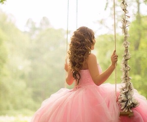 pink, dress, and swing image