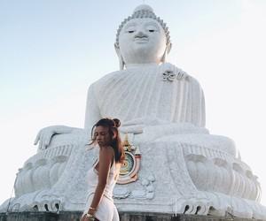 girl, travel, and Buddha image