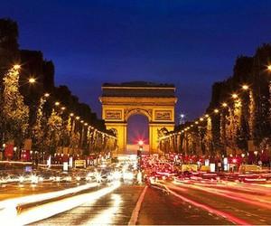 arc de triomphe, beautiful, and night image