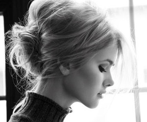 hair, black and white, and bun image