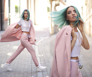white shoes, pink suit, and mermaid hair image