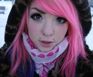 girl, piercing, and pink image
