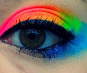 eye, rainbow, and make up image