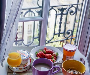 balcony, breakfast, and cup image
