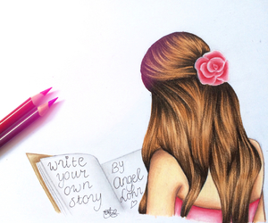 girl, book, and pink image