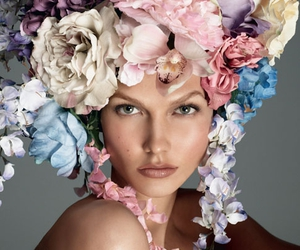 flowers, headpiece, and portrait image