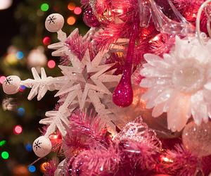 christmas, pink, and snowflake image