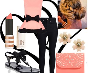bows, coral, and fashion image