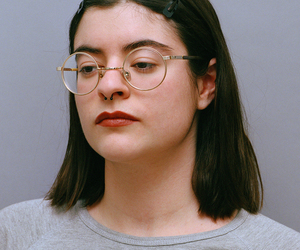 girl, glasses, and red lipstick image