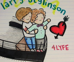 one direction, larry stylinson, and louis tomlinson image