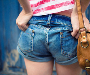 bag, girl, and shorts image