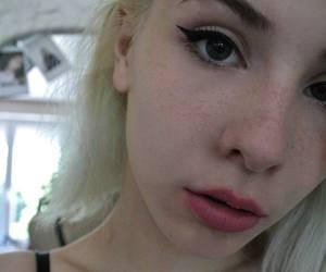 beauty, white, and eyeliner image