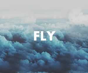 fly, sky, and blue image