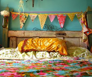 bed, bedroom, and colors image