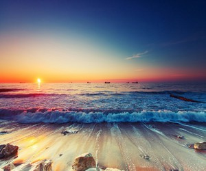 sunset and sea image
